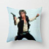Han With Gun Pixels Throw Pillow