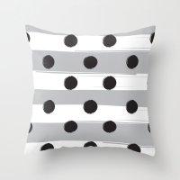 BLACK DOTS MEET WHITE STRIPES Throw Pillow