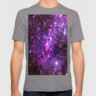 Purple Galaxy Mens Fitted Tee Tri-Grey SMALL