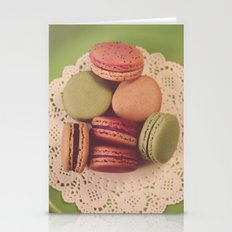Macarons on Green Stationery Cards