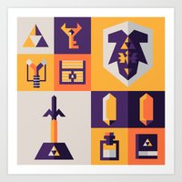 Legend Of Zelda Items Art Print