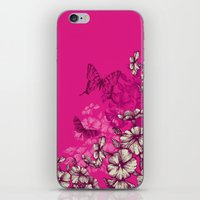Vintage butterfly wallpaper- magenta iPhone & iPod Skin