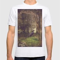 Raven In Forest Mens Fitted Tee Ash Grey SMALL