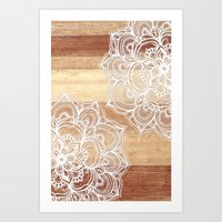 wood Art Prints featuring White doodles on blonde wood - neutral / nude colors by micklyn