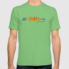 Columbus Ohio, City Skyline, watercolor  Cityscape Hq v2 Mens Fitted Tee Grass SMALL