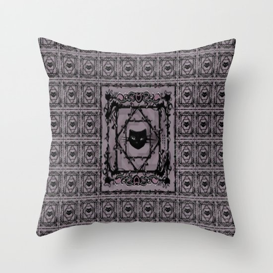 pattern (purple/lovecats) Throw Pillow