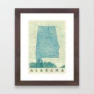 Alabama Map Blue Vintage Framed Art Print
