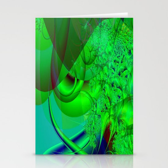 Abstract Green Algae Stationery Card