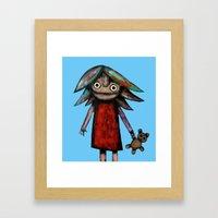 Girl vith teddy bear Framed Art Print