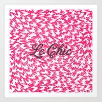 Neon Pink Chic Leopard Print Girly Zigzag Pattern Art Print