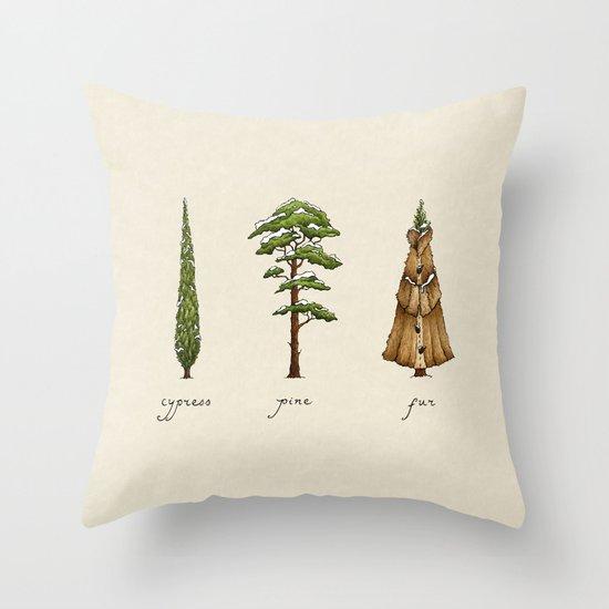 Fur Tree Throw Pillow