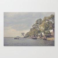 The elephant swim Canvas Print