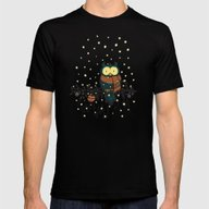 Owl In The Snow V2 Mens Fitted Tee Black 2X-LARGE