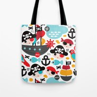 Cute kids pirate ship and parrot illustration pattern Tote Bag