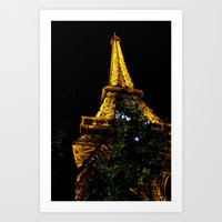 Eiffel Tower lit up at night, Paris Art Print