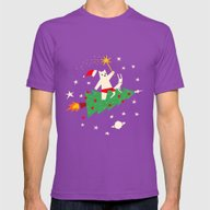 Space Christmas Mens Fitted Tee Ultraviolet MEDIUM