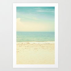 Pale blue retro beach  Art Print
