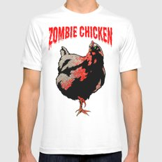 All Fear The Zombie Chicken! White Mens Fitted Tee SMALL