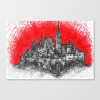 1991 - Imaginary French Village (High Res) Canvas Print