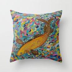 the golden koi Throw Pillow