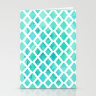 Watercolor Mint Diamonds Stationery Cards