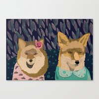 Stylish foxes Canvas Print