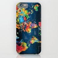 World Map Black Backgrou… iPhone 6 Slim Case