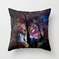 Wolf In The Forest Throw Pillow