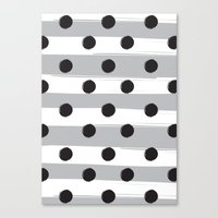 BLACK DOTS MEET WHITE STRIPES Canvas Print