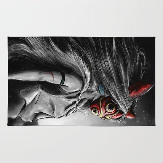 Miyazaki's Mononoke Hime Digital Painting the Wolf Princess Warrior Color Variation Area & Throw Rug