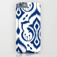 iPhone & iPod Case featuring Ikat Damask Navy by Patty Sloniger
