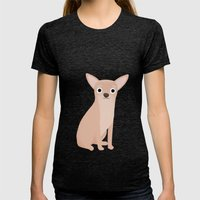 Chihuahua - Cute Dog Series Womens Fitted Tee Tri-Black SMALL
