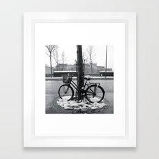 Snowy bike in Paris Framed Art Print