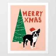 Boston Terrier Xmas - Ch… Art Print