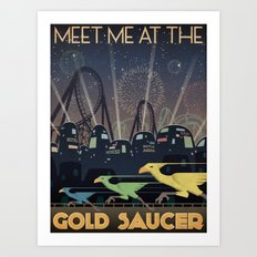 Final Fantasy VII Gold Saucer Travel Poster Art Print