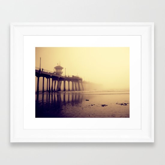 Huntington Beach Pier Framed Art Print