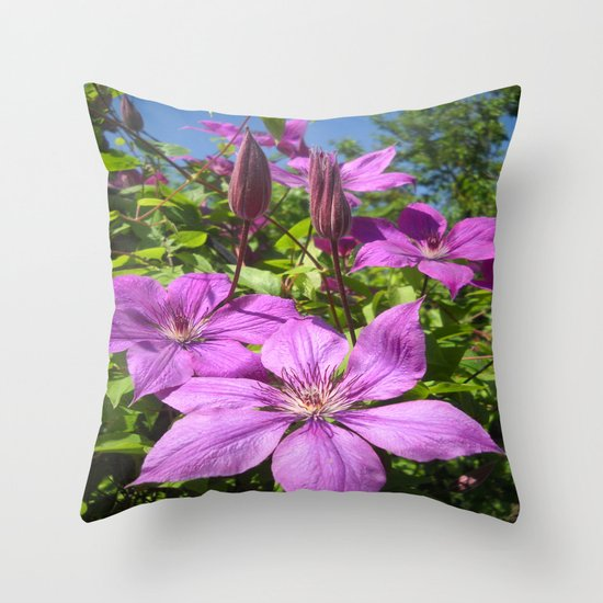 Clematises Throw Pillow