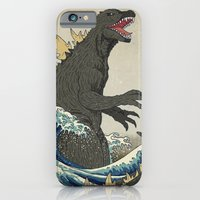 iPhone Cases featuring The Great Godzilla off Kanagawa by DinoMike
