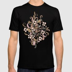 Floral curve pattern, rose gold SMALL Mens Fitted Tee Black