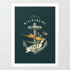 Anchor   Petrol Grey Art Print
