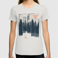A Fox in the Wild... Womens Fitted Tee Silver MEDIUM
