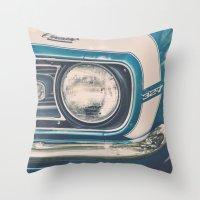 Blue Classic Camaro Throw Pillow