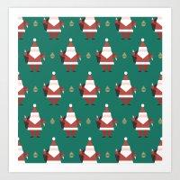 Day 10/25 Advent - Folding Santa Art Print