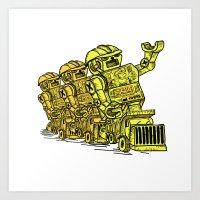 Robot Riding Art Print