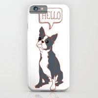 Boston Terrier, Hello, Red, Black, Grey iPhone 6 Slim Case