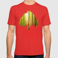 Sunbeams in the forest Mens Fitted Tee Red SMALL