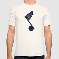 Flying Note Mens Fitted Tee Natural SMALL