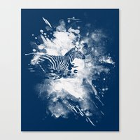 zebra splashed  Canvas Print