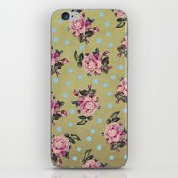 Pink Roses & Blue Dots iPhone & iPod Skin