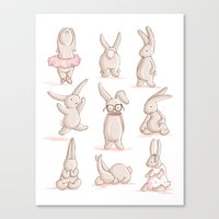 Cute Bunnies, Playing Dr… Canvas Print